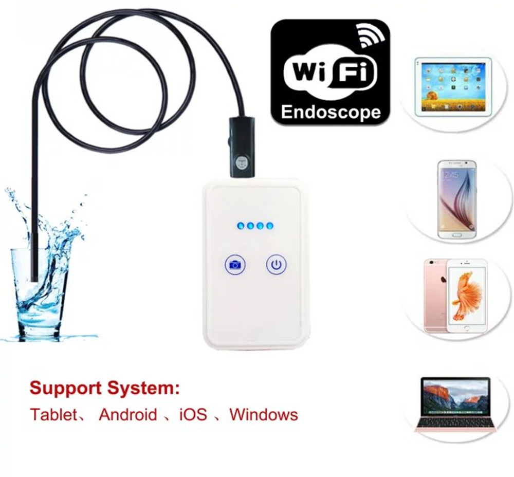 ФОТО 9mm 1080P 2mp WIFI Endoscope for Mobile and Computer 2m