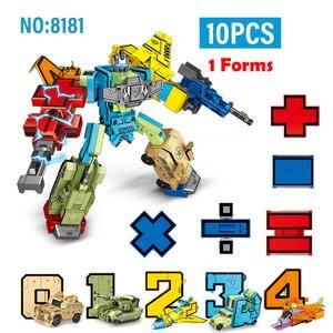 Image 2 - 10 pçs número de transformação robô brinquedo blocos de construção deformação bolso morphers educacional figura ação brinquedo para crianças