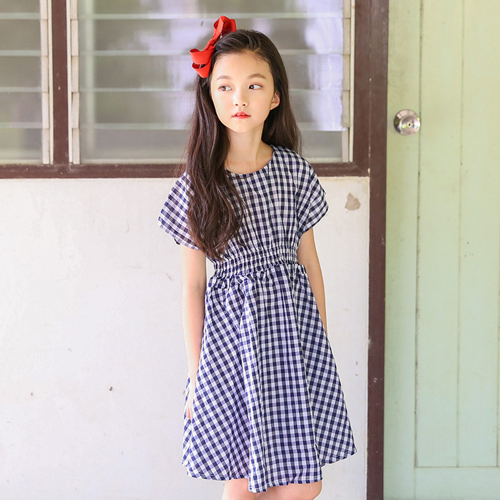 Cotton Kids Girls Blue Plaid Dress 2018 Summer Big Girl Dresses Kid Clothes Teens Clothing For 34 5 6 7 8 9 10 11 12 13 14 Years