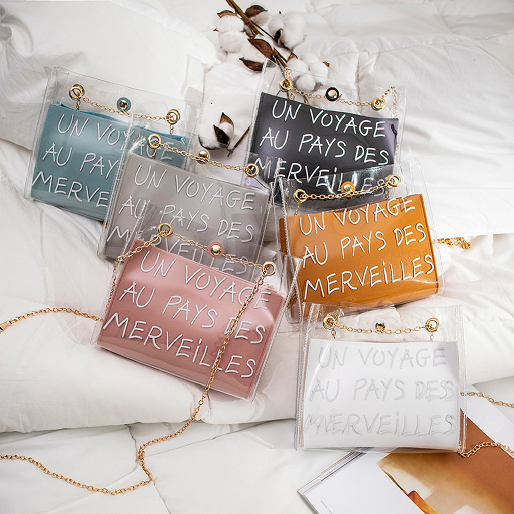 Bags For Women 2019 Jelly Transparent Bag Square Package Super Chain Crossbody Bags For Women Bolsos Mujer De Marca Famosa 2019