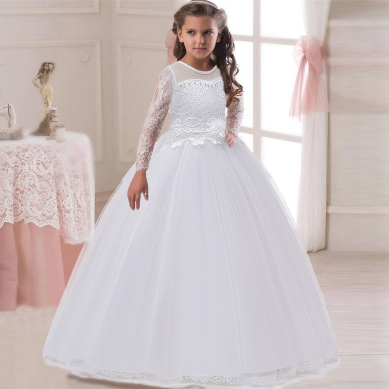 Long Sleeves Girl Weddings Lace First Communion Dresses Flower Girl Campus Party Long Dresses For Graduation Opening Party