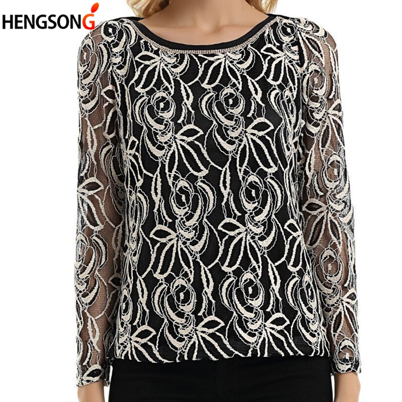 Women Casual Floral Hollow Autumn Blouse O-neck Long Sleeve Lace Bottoming Shirt Blusas Female Tops