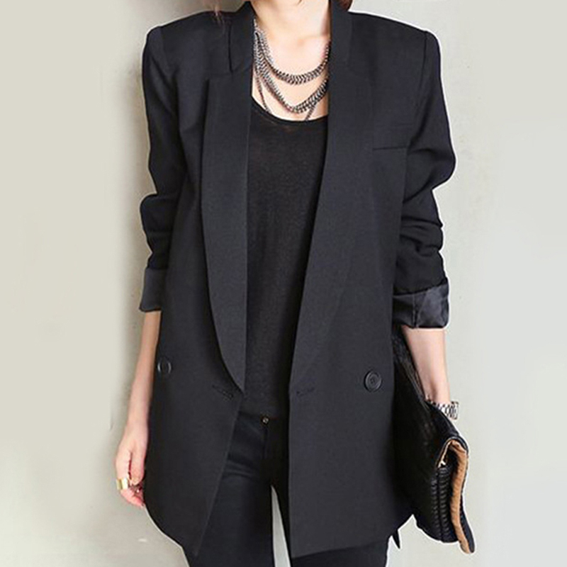 New Fashion Solid Long Black Women Jacket Blazers And Straight And Smooth Female Split Notched Collar Asymmetrical Chic Feminino