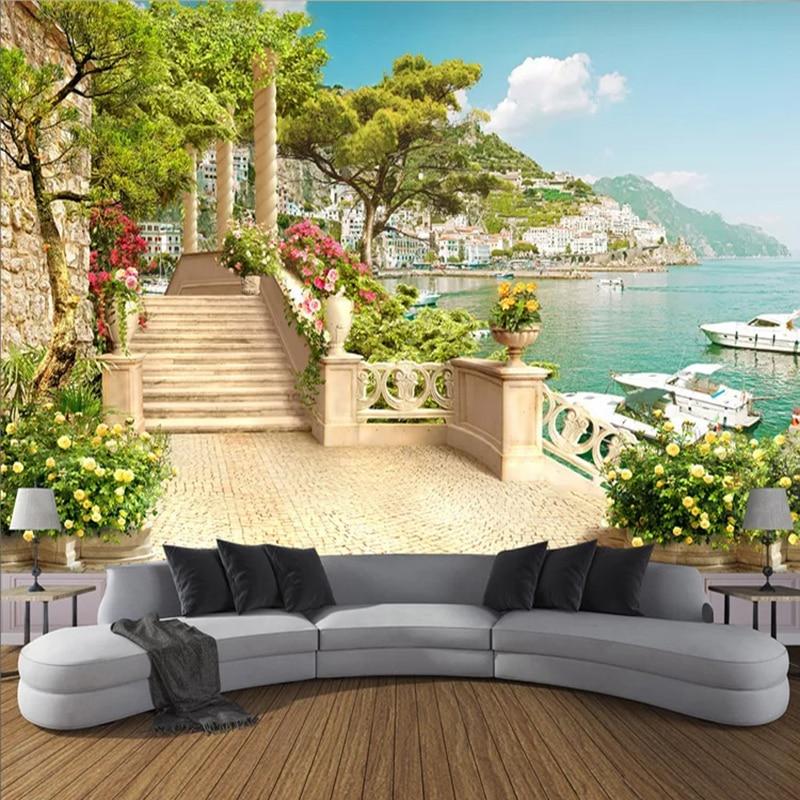Custom 3D Photo Wallpaper Garden Balcony Stairs Lake View 3D Living Room Sofa Bedroom TV Background Wall Mural Wallpaper Decor