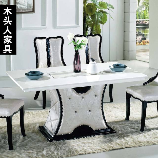 Korean Simple Long White Marble Dining Table IKEA Small Family - Small white marble dining table