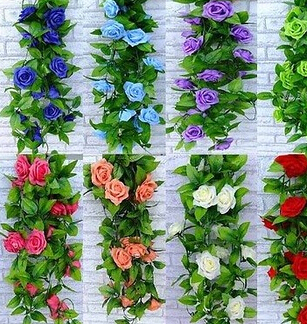 2.4m Artificial Rose Silk Flower Green Leaf Vine Garland Home Wall Party Decoration Vine/Rattan - Natali Colthes Co.,LTD store