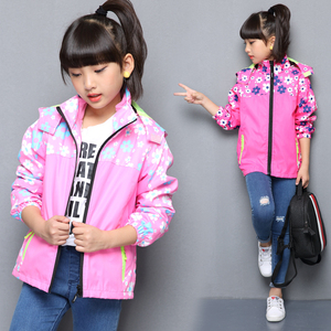 Image 2 - Spring Casual Windproof Breathable Print Girls Jackets Child Coat Sporty Children Outerwear For 3 14 Years Old
