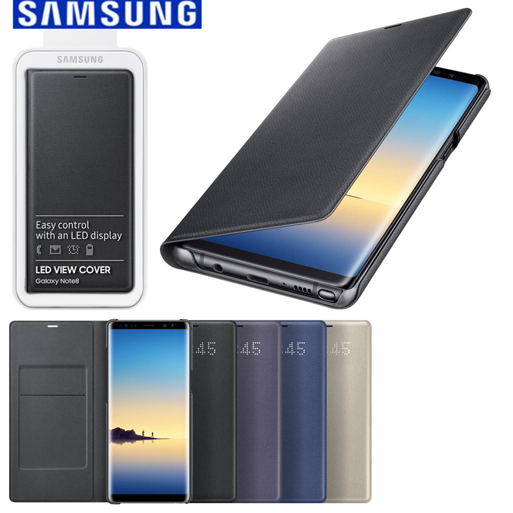buy popular 91143 07a28 US $41.03 48% OFF|100% Original official SAMSUNG Galaxy Note8 N950F LED  View Smart Wallet Cover Case Blue Black purple gold EF NN950P -in Wallet  Cases ...
