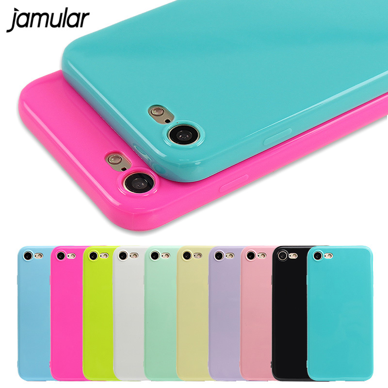 JAMULAR Candy Jelly Soft Silicone Shockproof Case for iPhone 8 7 Plus 6S 6 5s SE ტელეფონის შემთხვევები iPhone X XS MAX XR 6 6s– ის ყდაზე