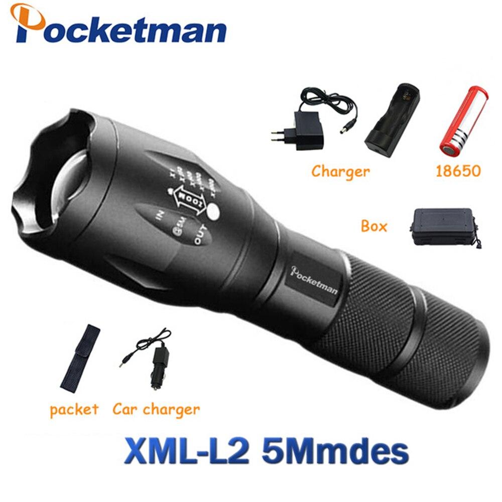 Lampe de poche LED 9200 Lumen XM-L L2 LED lampe de poche tactique torche 5 Mode Zoomable lampe de poche torche étanche lampe de poche