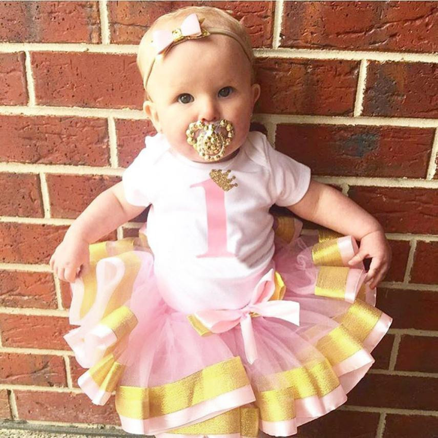 MUQGEW Toddler Baby Girls Birthday Letter Print Jumpsuit Romper Tutu Skirts Set Outfits Roupa De Bebe Girls&Boys Baby Clothes