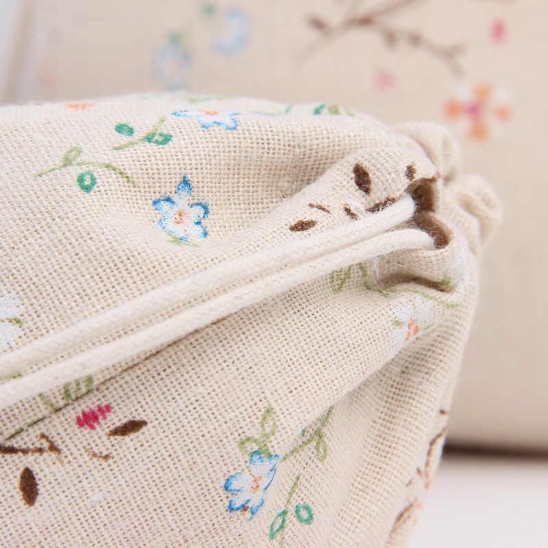 Художественная хлопчатобумажная ткань, мешок со шнурком, винтажная Цветочная растительная кофейная подарочная упаковка для конфет, Женский дорожный мешок для хранения портмоне