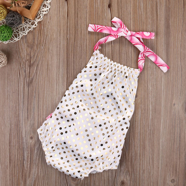 59a9fb2b08ce Toddler Infant Baby Girl Gold dots Cute Toddler Romper Jumpsuit Outfit  Sunsuit Clothes