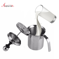 Asipartan 400ml Stainless Steel Milk Frother Foamer Manual Espresso Coffee Milk Jugs Double Mesh Milk Foam Cup Barista Tools