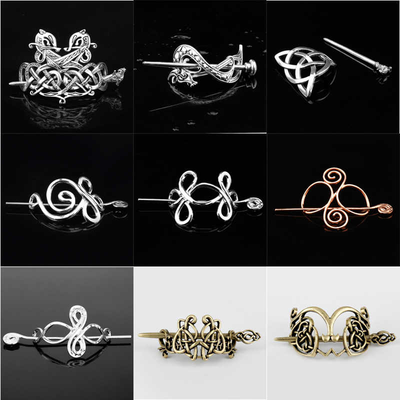 Viking Hair Jewelry Celtics Knots Crown Hairpins Vintage Style Bronze antique silver Hair Clips Hairpins girl Women Hair Stick