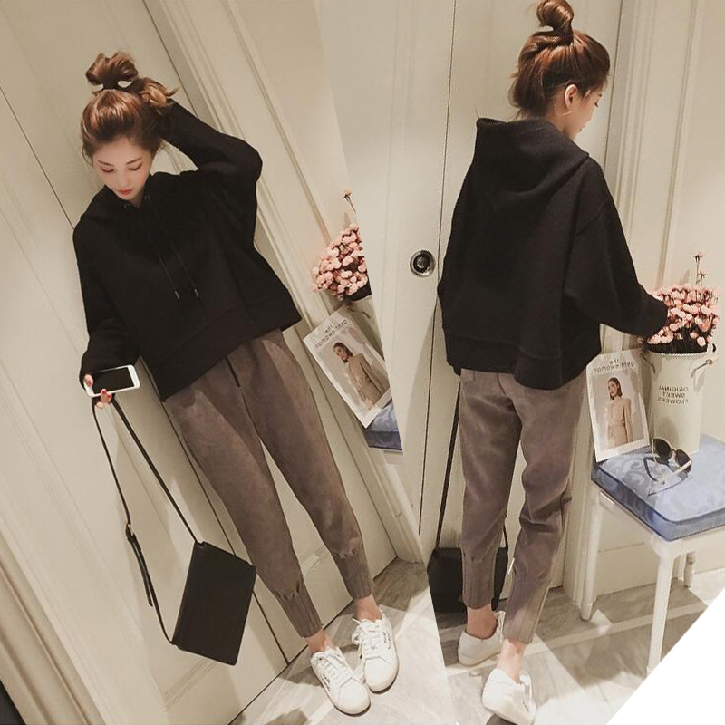 Pregnant Women Autumn Suit Fashion New Korean Version Maternity Loose Hoodies + Stomach Lift Pants Casual Sports Two-piece drop crotch loose two tone pants