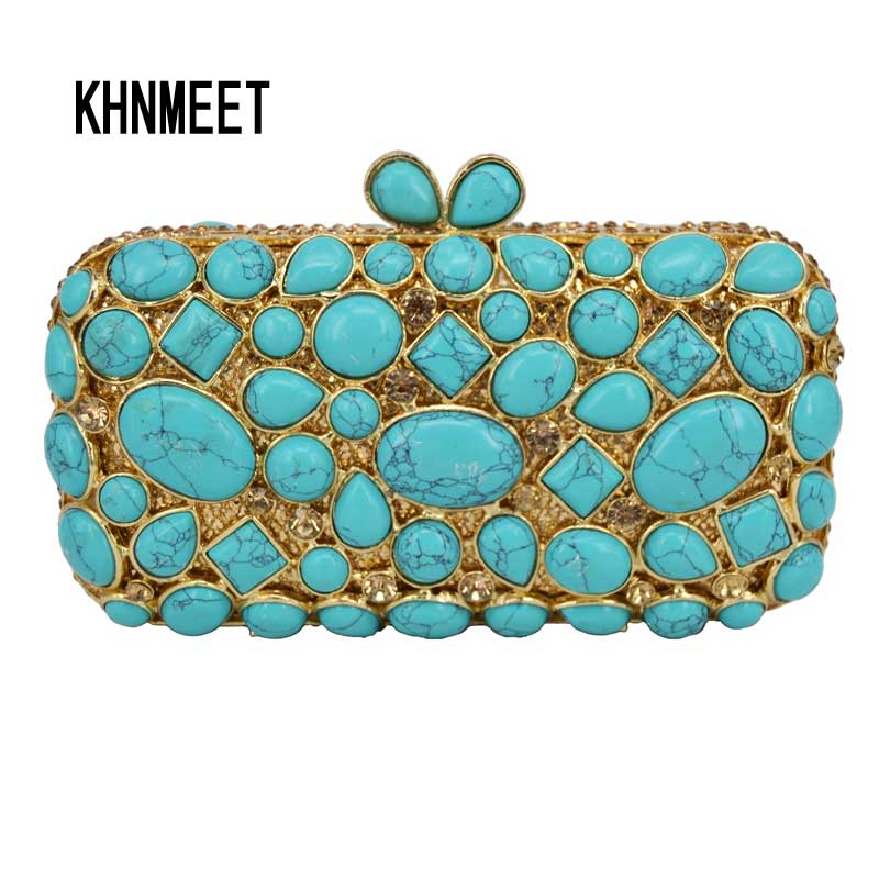 Cobblestone turquoise Clutch Bag Women Diamond Evening Bag Crystal Pochette Purse light green Bling Wedding Party