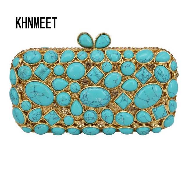 56e404dfc Ciottoli turchese Donne del Sacchetto di Frizione Sacchetto di Sera Del  Diamante di Cristallo Pochette Borsa