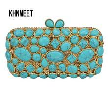 Cobblestone turquoise Clutch Bag Women Diamond Evening Bag Crystal Pochette Purse light green Bling Wedding Party Handbag sc459