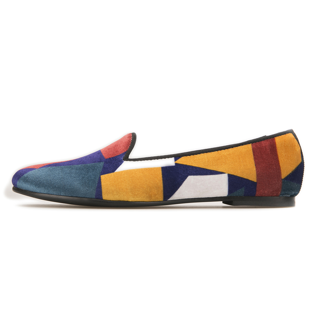 Handcraft fashion women velvet shoes with puzzle design colorful woman loafers casual flats  1
