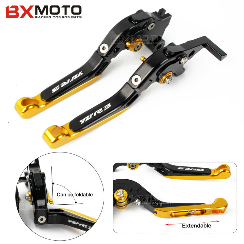 logo YZF-R3 Adjustable CNC Motorcycle Brakes Clutch Levers For Yamaha YZF R3 YZFR3 2014-2017 Motorbike Brake accessories parts for yamaha cnc adjustable foldable extendable motorbike brakes clutch levers for yamaha r6 yzf r6 yfz r6 2005 2016 yfzr6 logo