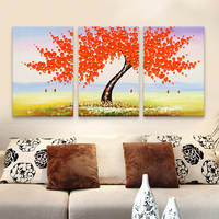 3 Pieces Panel Wall Art Palette Knife Hand Painted Yellow Flower Oil painting On Canvas Wall Pictures Painting For Living Room 1