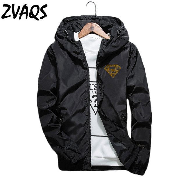 a31ad478ed8 Men s Jackets and Coats Spring Autumn Casual Thin Windbreaker Outerwear  Young Men Print Hooded Plus Size