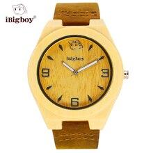 IBigboy Relojes Moda Clásica De Madera De Bambú Luminoso Regalo de Cuero de Cuarzo Analógico Reloj de Pulsera IB-1603Qa