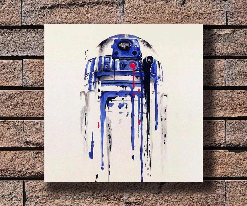 Y764 Star Wars R2D2 Classic Movie Hot Poster Art Canvas Print Decoration 16x16 24x24 27x27inch