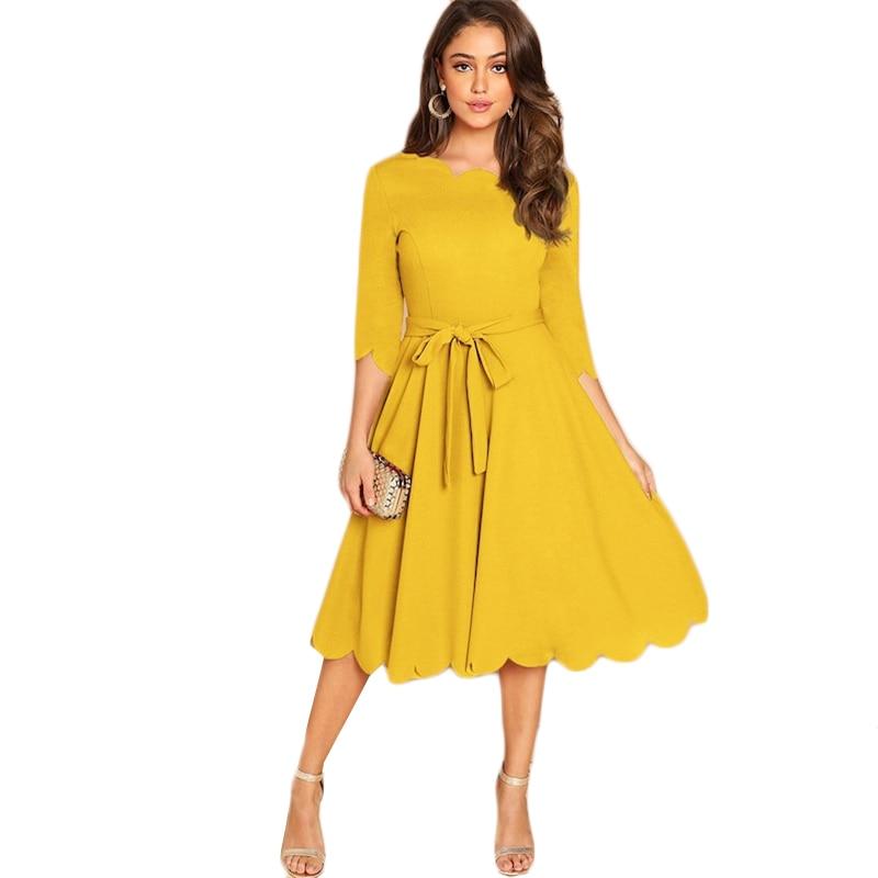 Sheinside Elegant Scallop Edge Bodycon Dress Women Burgundy 3/4 Sleeve Solid Pencil Dresses Woman Party Night Ladies Midi Dress 44