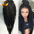 African American Braided Wigs Natural Hairline Lace Front Synthetic Wigs For Black Women Heat Resistant Fiber Synthetic Lace Wig