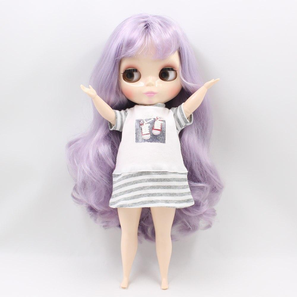 Blyth poupée pour corps dodu usine graisse violet clair avec bandgs bjd jouets BL1049 neo adapté pour cosmétique bricolage refit offre spéciale-in Poupées from Jeux et loisirs    3