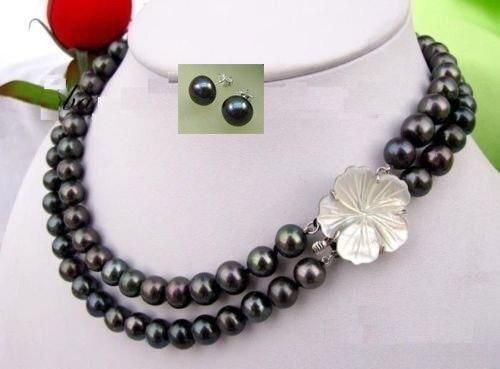 2 brins AAA 9-10 MM mer du sud collier de perles noires 17-18 pouces ensemble de boucles d'oreilles livraison gratuite