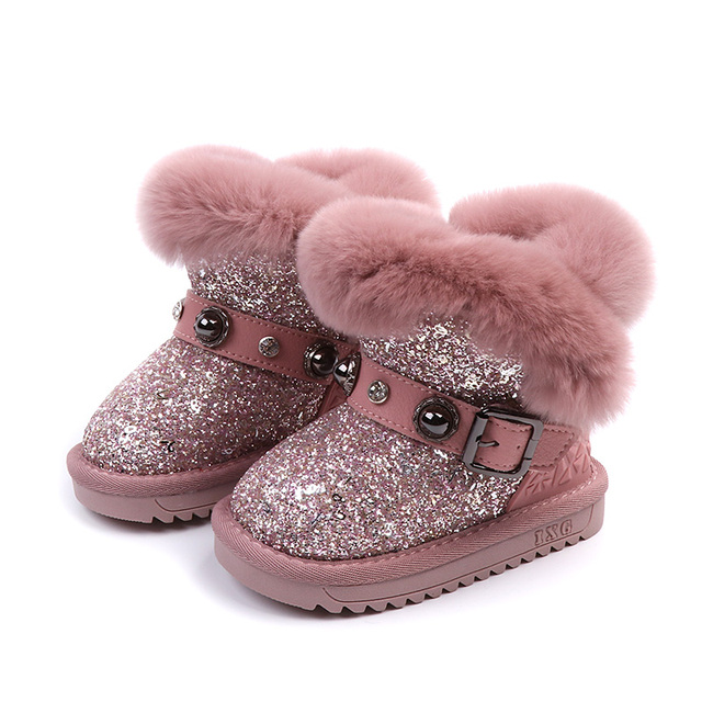 Mid Calf Kids Snow Boots 2018 New Glitter Children Boot Rabbit Fur Bling Warm Winter Shoe 1 4 6 8 12 years