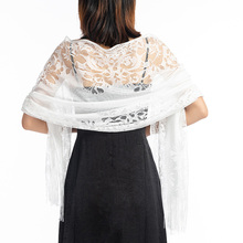Women White Lace Scarf Elegant Long Tassel Tulle Scarf and S