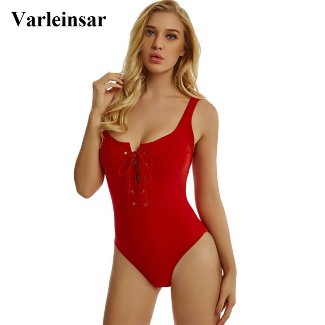 87be74a77e292 Black White Red 2019 Women Swimwear Lace Up Scoop Back Sexy One Piece  Swimsuit Female Bather Backless Bathing Suit Swim V195R