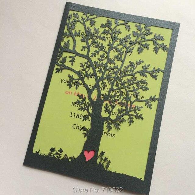 Aliexpress Buy Laser Cut Tree Wedding Invitations Wholesale Laser Cutting Wedding