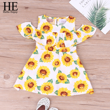HE Hello Enjoy Girl Dress Flower Print Sunflower Floral A-line Dew Shoulder Outfits Kid Clothes Princess 2019 Summer