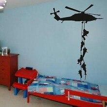 Ejército militar Helicóptero Wallpaper Vinilo Decoración Etiqueta de La Pared Para Niños Sala de Arte Decoración Extraíble Envío Gratis Wallpaper Y-626