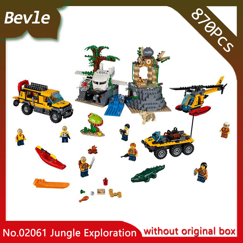 Doinbby Lepin 02061 870Pcs CITY Series Jungle Exploration Raiders of the Lost Ark  Building Blocks set Bricks Children For Toys ynynoo lepin 02043 stucke city series airport terminal modell bausteine set ziegel spielzeug fur kinder geschenk junge spielzeug