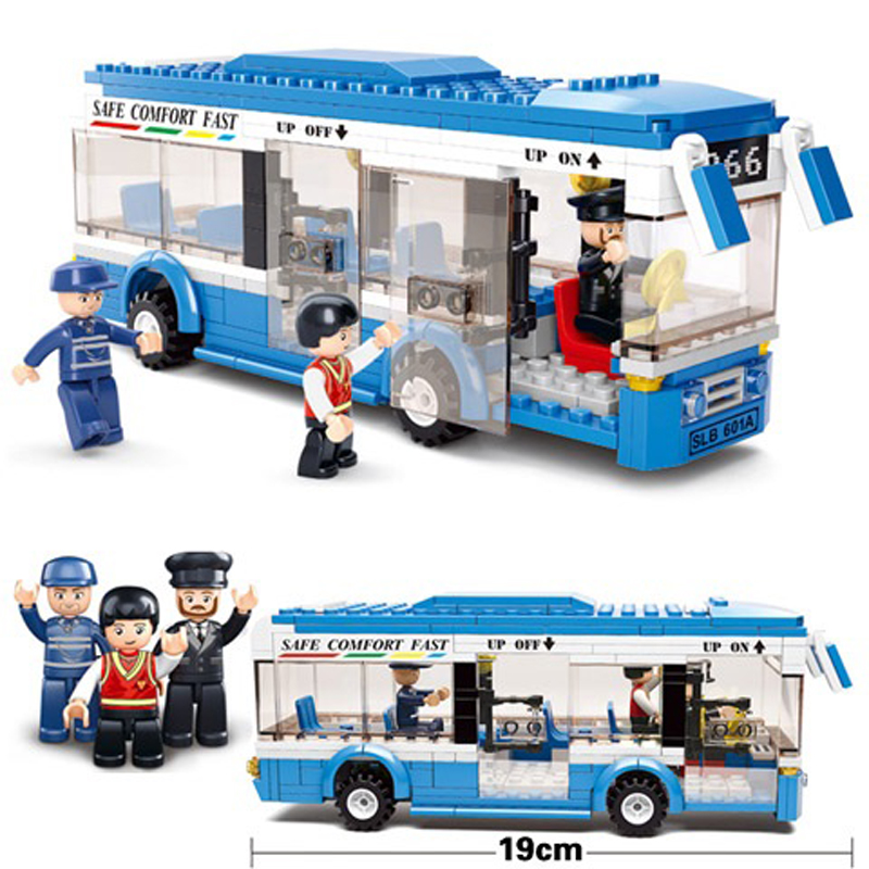 2018 New Sluban 0330 City Bus Building Bricks Blocks Sets Gift Kids Toys Compatible Technic Designed Bus kazi 608pcs pirates armada flagship building blocks brinquedos caribbean warship sets the black pearl compatible with bricks
