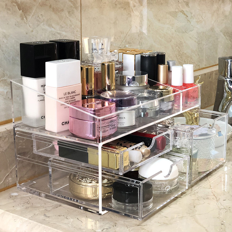 New Arrival Chic Acrylic Makeup Organizer Storage Lipstick Makeup Nail Polish Case Holder Display Rack Plastic Drawers Organizer