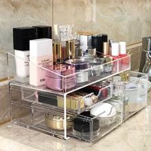 Organizador de maquillaje acrílico elegante, estuche de almacenamiento para pintalabios, esmalte de uñas, cajones de plástico