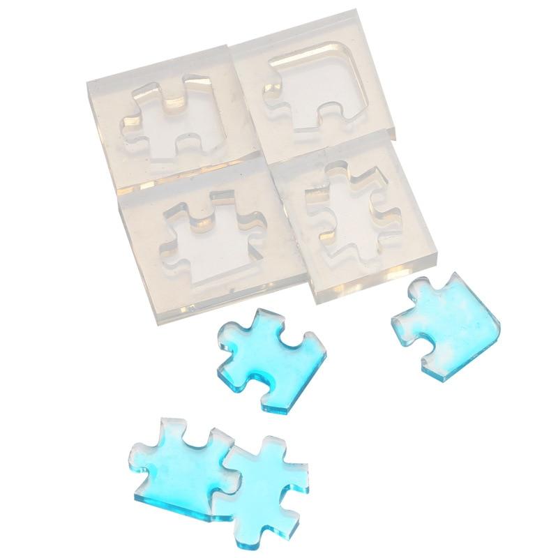 4pcs/set Puzzle Gemstone Crystal Mold Silicone Mould DIY Jewelry Pendant Making Tools For Epoxy Boy Enjoy Toys