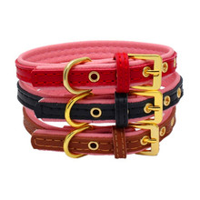 Leather Durable Pet Dog Collar Pet Supplies Accessories Lichee Lines Collar for puppy Safety Belt Accessoy