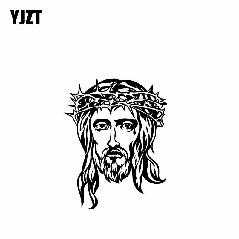 YJZT 14 см * 17,8 см Бог Иисус виниловая наклейка на мотоцикл наклейки Черный Серебряный C13-00094