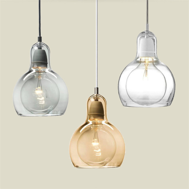 glass bulb chandelier contemporary nordic glass shade amber gray pendant lamps edison bulb chandelier hanging light bedroom for kitchen bar aliexpresscom buy