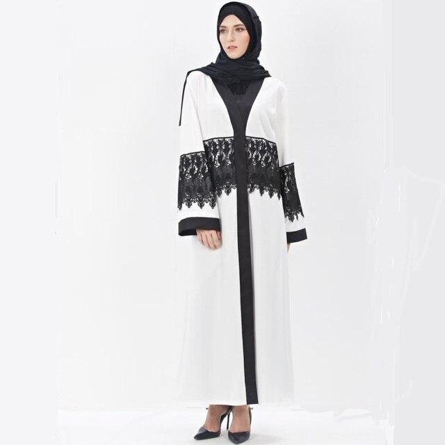 2016 мода Для Взрослых Случайный кружева шить Халат Турецкая Абая Мусульманского Новый Мусульманин Платье Кардиган Халаты Арабские Богослужения W1149