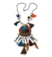 2017 nouveau Boho bijoux à la main perlée gland pendentifs Collier dream catcher Pompons Pomoms boule pendentifs collier collier