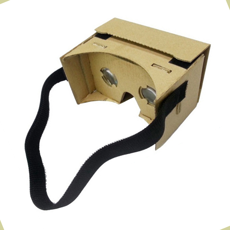 2016 new Google cardboard virtual reality VR 3D glasses with hook and loop cloth headmounted strap band  with 2pcs magic sticker